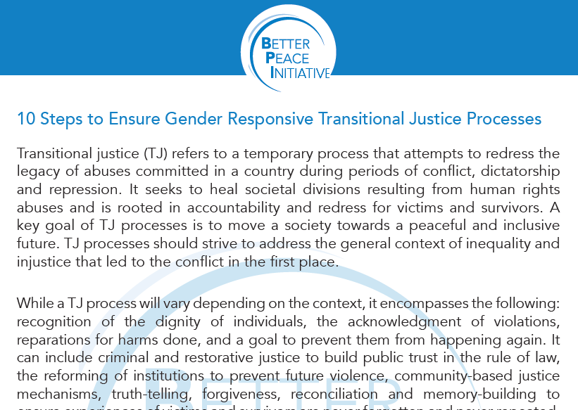 ICAN Launches Guidance Document on Gender Responsive Transitional Justice Processes